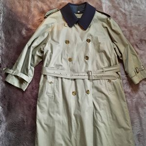 BURBERRY TRENCH COAT 42 SHORT Wool EUC Plaid Green